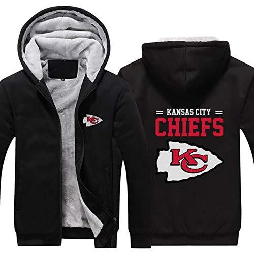 LCY Männer NFL Hoodies - Kansas City Chiefs Football Fans Langarm Eindickung beiläufige Reißverschluss Jersey Sweater,A,L