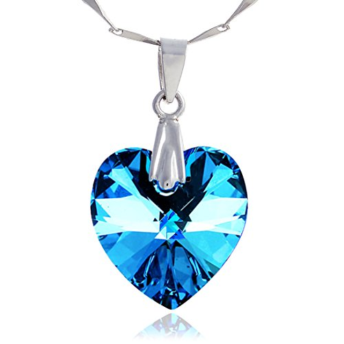 LUNAROSE 925 Sterling Silver Necklace Jewellery for Women Heart Pendant Necklace Crystal From Swarovski Heart of the Ocean 18 Inch Chain 2 Inch Extender in Velvet Box Allergen-Free Blue