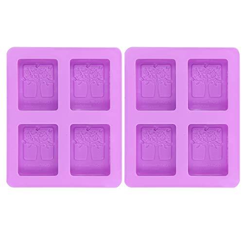 HENGtaoSM Molde de silicona 2 piezas púrpura 4 rejillas cuadrado de silicona orgánica jabón antiadherente molde DIY pastel chocolate hornear molde bandeja