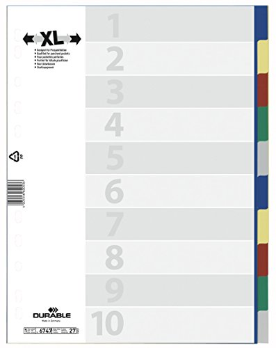 DURABLE Hunke & Jochheim Register, PP, blanko, farbiger Verlauf, DIN A4, 230 x 297 mm, 10 Blatt