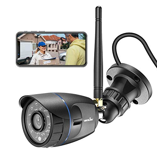 Outdoor Security Camera, Wansview 1080P WiFi Home Surveillance Waterproof Camera with Night Vision, Motion Detection, Remote Access, Compatible with Alexa-W4-Black