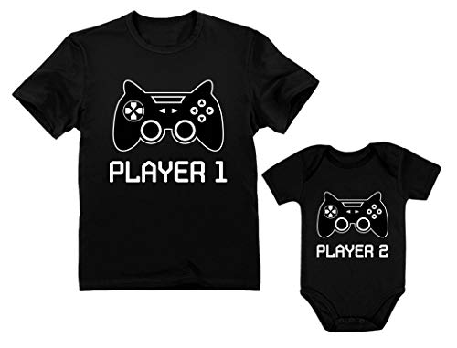 Gamer Shirts for Father & Son Daughter Player 1 Player 2 Men Tee Baby Bodysuit Dad Black Large/Baby Black Newborn (0-3M)