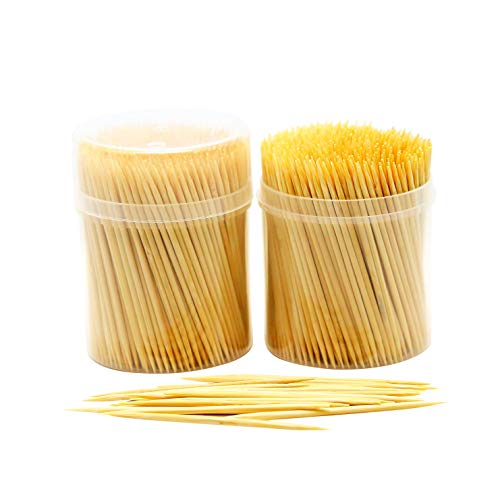 NEW NatureCore Bamboo Wooden Toothpicks - 1000 PCS, Sturdy Safe Round Clear Storage, 2 Packs of 500 Toothpicks, Party Catering Appetizer Fruit Cocktail Dessert Barbecue Art Craft Teeth Cleaning