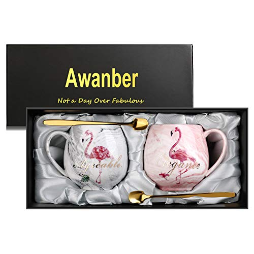 Marble Coffee Mug Set of 2, Awanber Flamingo Glossy Ceramic Coffee/Tea/Milk Cup - Best Birthday Christmas Gifts for Women, Girls, Couples - Mother's Day Gifts for Mom, Wife, Daughter - Gift Boxed