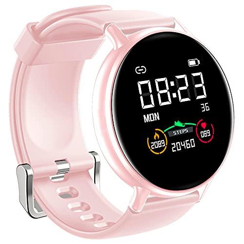 IOWODO Smartwatch Donna Uomo 5ATM Impermeabile Cardiofrequenzimetro Sonno Orologio Fitness Tracker Contapassi Cronometro Smart Watch Notifiche Messaggi Controller Musicale Per IOS Andriod
