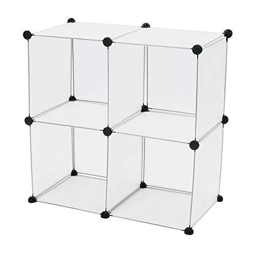 PrimeMatik - Armario Organizador Modular Estanterías de 4 Cubos de 35x35cm plástico Blanco