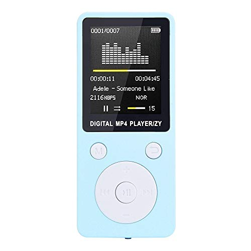 EisEyen - Reproductor de MP3 y MP4 con radio FM y grabadora LCD, tarjeta de memoria TF de 32 GB, auriculares y cable de datos, color rosa, azul, blanco y negro