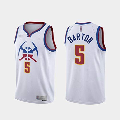 Jerseys De Baloncesto De Los Hombres, NBA Denver Nuggets # 5 Will Barton - Camiseta De Ropa Sin Mangas De Deporte Clásico, Tops De Uniformes De Tela Confort,Blanco,XXL(185~195CM)