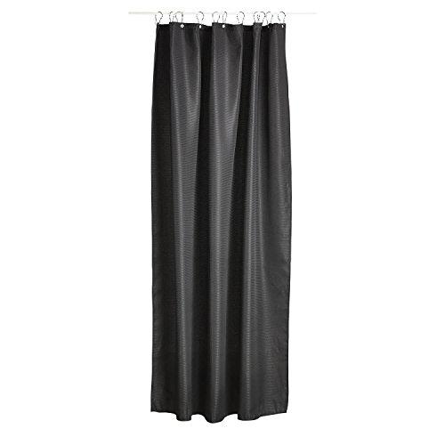 Zone Denmark Lux schwarzem Polyester Duschvorhang-Gardinen Dusche (einfarbig, Polyester, Schwarz, 2m, 1800mm)