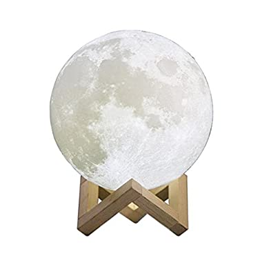 3D Printing Moon Light, LAFEINA Rechargeable Table Lamp Stepless Dimmable Touch Control Night Light with Wooden Stand for Home Baby Room Decoration, Birthday Gift (15cm)