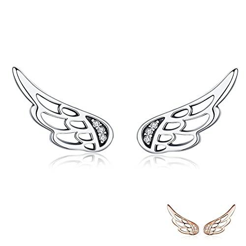 DOOLY Pendientes de Plata deLey 925 auténtica conalas de Hadas y Plumas, Pendientes de Plata para Mujer, joyería de Plata de Moda, Navidad