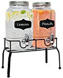Estilo Glass Set of 2 Mason Jars Beverage Drink Dispensers on Metal Stand with Chalkboard Labels and Chalk with Lids and Leak Free Spigots-1 Gallon