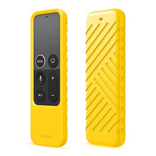 SITHON Silicone Custodia per Apple TV 4K 5a e 4a Generazione/HD Siri Telecomando(1a Generazione), Leggera Cover Protettiva Antiurto Case, (Giallo)