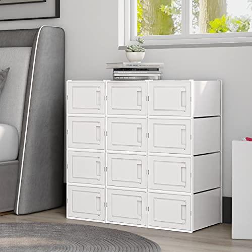 Meerveil Stapelbare Schuhbox, Kunststoff Schuhablage, durchsichtiger Schuhorganizer mit Tür, DIY leicht zu montieren (L-12Weiß)