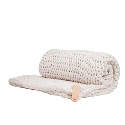 Adorist Chunky Knit Kuscheldecke Juna 80x130cm - Strickdesign im skandinavischen Stil - Strickdecke grob -Ideal als : Sofadecke - Überwurf fürs Bett/Sofa - Bettüberwurf - Plaid- Snow White weiß