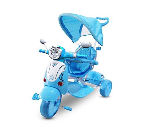 Mediawave Store Triciclo a Spinta con Pedali LT854 per Bambini Special con cappottina (Azzurro)