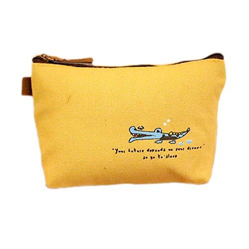 Meigold Krokodil Schlüsseltasche Brieftasche Verdicken Waschbeutel Multifunktionale Kosmetiktasche Canvas Size 12 * 9 * 7CM (Gelb)