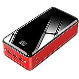 XLBHSH 50000Mah Power Charger Power Bank Powerbank Portátil Paquete De Batería Externa De Alta Capacidad [3 Entrada Y 3 Salida] para iPhone 12, Android, Samsung,Rojo