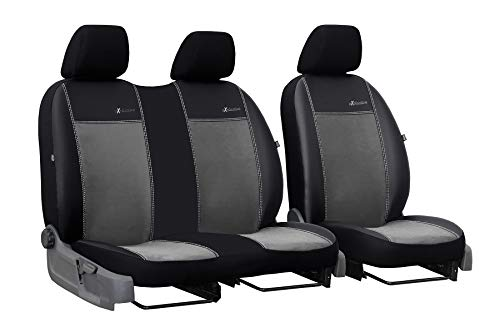 Auto Sitzbezüge dunkelgrau Exclusive Vordersitze 3 Sitzer geeignet für FIAT Ducato III 2006-2019 Schonbezüge Kunstleder mit Velour Stoff für LKW Kleintransporter