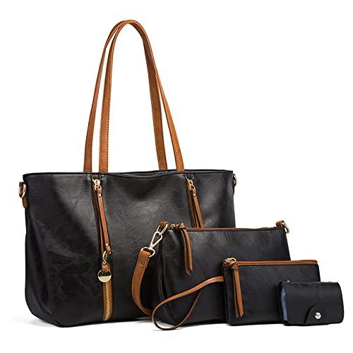 Bolso de hombro retro de color sólido para mujer bolso de mano suave y versátil bolso de gran capacidad para ocio al aire libre, negro, talla única