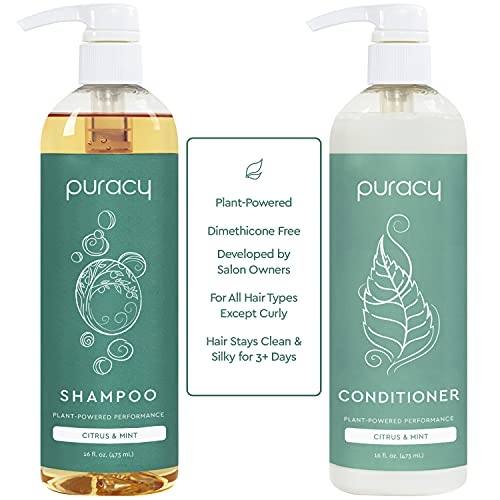 Puracy Shampoo and Conditioner Set, Hair Stays Clean and Silky Longer with LexFeel N5, Natural and Color-Safe, Citrus & Mint, 2 Count, 16 Ounce
