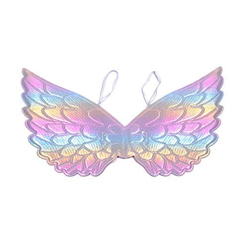 Ouken 1PC Kinder-Engels-Flügel Cosplay Props Halloween Partei Kostüme Engels-Flügel-Performance-Kleid Zubehör Für Halloween, Hochzeit, Festival (Rainbow Color)