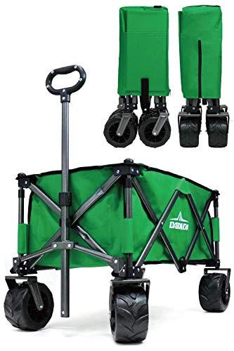 DABADA(ダバダ) キャリーカート 耐荷重150kg 容量110L アウトドアワゴン 折りたたみ 軽量 大型タイヤ 4輪 (Green)
