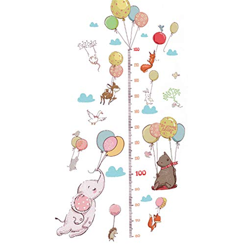 Aardich Wall Sticker Removable, Balloon and Animal All Stickers DIY Kids Growth Height Measuring Chart Cartoon Children Wall Decals for Kids Nursery Bedroom Living Room 9060cm