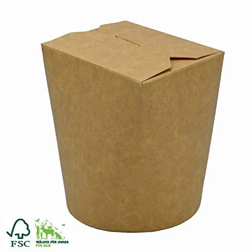 Pack&Cup Bio Asia-Box mit Faltdeckel, Einweg Döner-Box für Fingerfood Kraft 500 ml 30 Stück