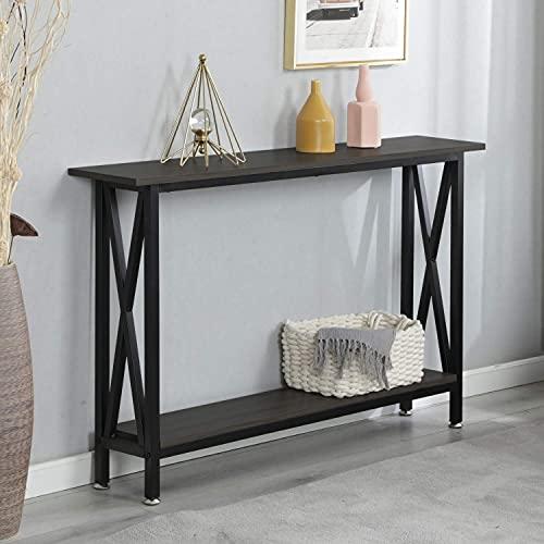 SogesHome Mesa de consolas con estante de almacenamiento abierto, mesa lateral de madera MDF mesa lateral soporte para muebles para el hogar, 120 x 24 x 74 cm, SH-DX-125-BR