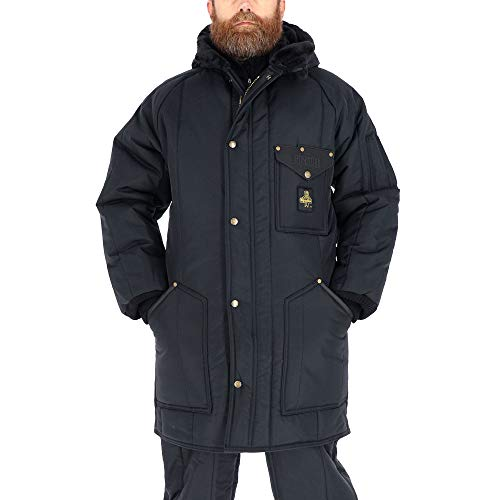RefrigiWear Men's Iron-Tuff Ice Parka Water-Resistant Insulated Coat with Hood (Navy Blue, 3XL)