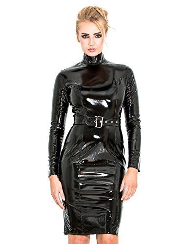Honour Damen Kleid aus PVC schwarz Gr. 46 (2XL), PVC Bekleidung, Vinylbekleidung, glänzende Kleidung