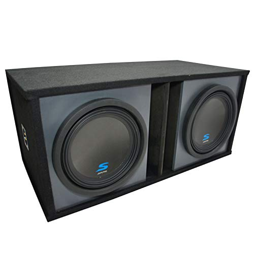 """Universal Car Stereo Paintable Ported Dual 12"""" Alpine S-W12D2 Type S Car Audio Subwoofers Custom Sub Box Enclosure Package New"""