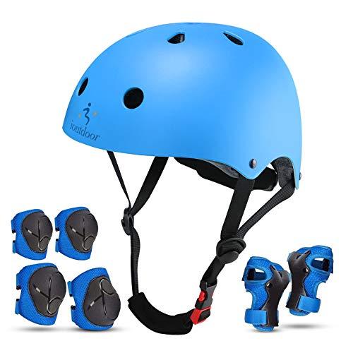 iOutdoor Fahrradhelm CE CPSC für Kinder Kleinkinder Jungen Mädchen im Alter von 3 bis 13 Jahren, Sicherheitsfahrradhelm, verstellbar, leicht, zum Radfahren, Roller, Skateboard, Blau, S