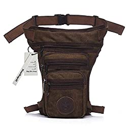 Huntforgold Vintage Canvas Leg Bag Drop Multi-Pocket Tactical Military Waist Pack for Cycling Motorcycle Hiking Climbing Travel Outdoor Sport