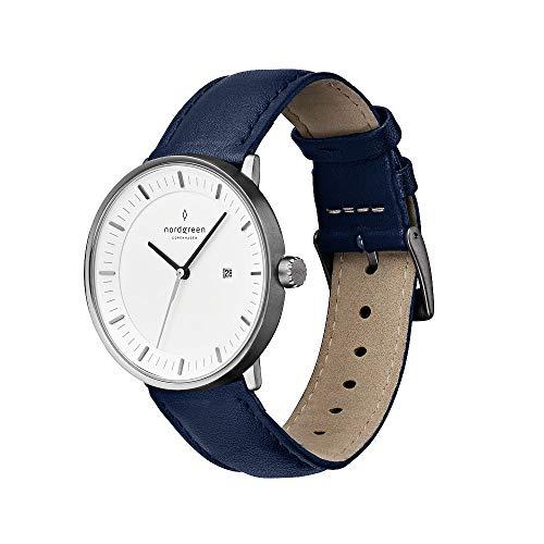 Nordgreen Philosopher skandinavische Herrenuhr in Anthrazit mit weißem Ziffernblatt und austauschbarem 40mm Leder Armband Navy Blau 10008