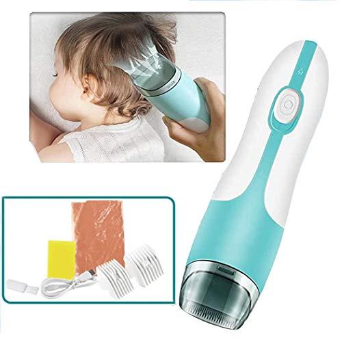 Fiunkes Baby-Haar-Scherer, USB nachladbare wasserdichte Kinder Vacuum Haarschneider Low Vibration und automatische Saug Haar Kind-Haar-Trimmer-Kit