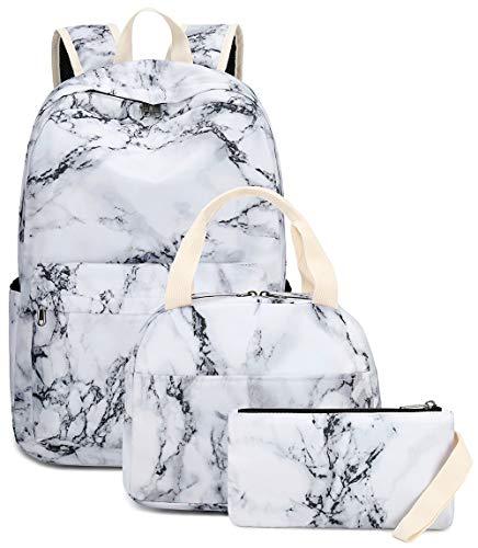 LEDAOU Schulrucksack Mädchen Kinderrucksack Schultasche Teenager Schul Rucksack für Kinder Schultaschen-Sets mit Lunchpaket und Federmäppchen (Marmor-3)