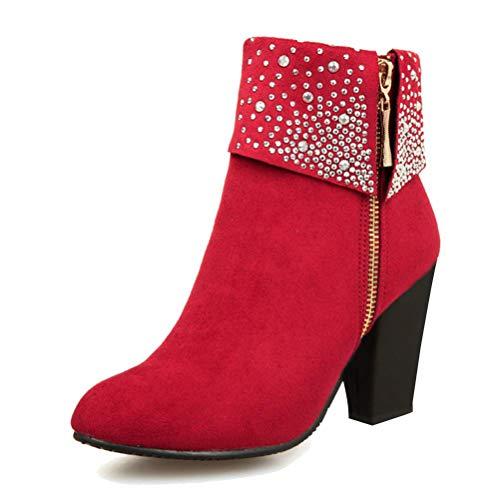 Minetom Winterstiefel Damen Warm Gefüttert Schneestiefel Schuhe Flach Wildleder Strass Stöckelschuhe Kurzschaft Stiefel mit Hohen Absätzen Stiefeletten Rot 42 EU