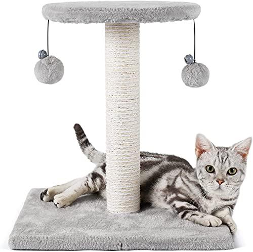 rabbitgoo Kratzbaum Katzen Klein Kratzstamm Stabil mit 2 Spielzeug für Katzen Sisal-Seil Kletterbaum Katzenkratzbaum Kratzsäule mit Großer Plattform Katzenkratz Scratchpost Scratcher 43cm Grau