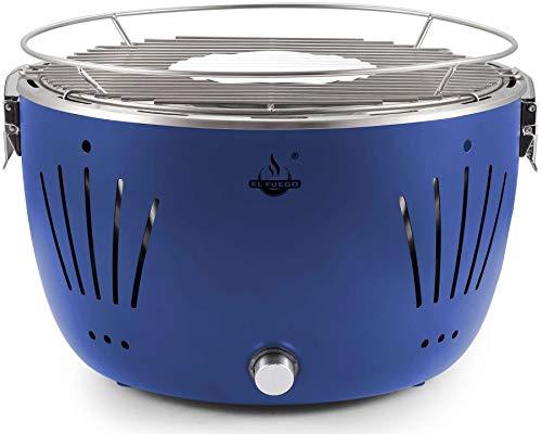 Holzkohlegrill Tulsa von EL Fuego® Grill BBQ Barbecue, Farbe Blau, USB-Anschluss, Batterie, Rauchfreies Grillen, inkl. Tragetasche AY 5255