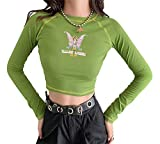 Butterfly Print Crop Top Long Sleeve E Girl Clothing for Teen Girls Graphic Tees Green L