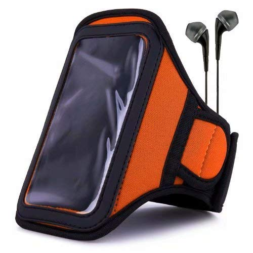 VanGoddy Orange Water Resistant Sports Armband with Extender for LG X, K3, Spree, G, K7, Optimus with Headphones with Mic