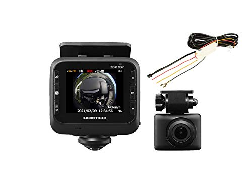 COMTECコムテックZDR037+HDROP-14全方位360度カメラ+リヤカメラ前後ドライブレコーダー駐車監視直接配線コ...