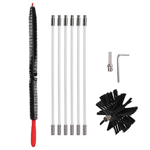 Kit de cepillo de chimenea, cepillo de limpieza de ventilación de secador, kit de limpiador de chimenea, duradero para la limpieza de tuberías de chimenea(rojo, 1)