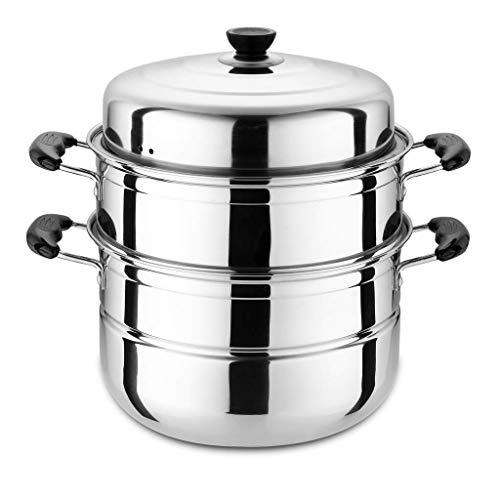 Olla de acero inoxidable para sopa de 3 niveles con tapa de cristal y mango de baquelita, se adapta a todas las cocinas de inducción incluidas (tamaño: 32 cm)