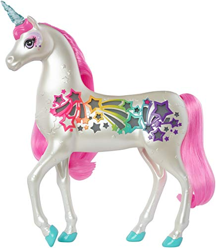 Barbie GFH60 Dreamtopia Brush 'n Sparkle Unicorn with Lights and Sounds, White with Pink Mane and Tail