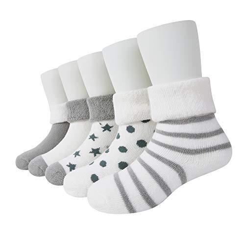 VWU Lot de 5 Paires Unisexe Bebes Infant Chaud et épais Chaussons Chaussettes de Manchette Camaïeu Rayées Nouveau-Nés Bébé Chaussettes en Coton (6-12 mois, Gris)