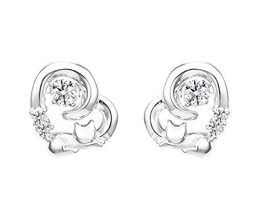 orecchini a perno da donna, in argento Sterling 925, con zirconia cubica, a forma di gatto in dolce cuore, regalo di amicizia, regalo di compleanno, gioielli da donna