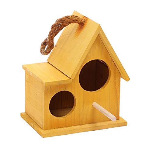Jaulas de pájaros Incubadora de nidos con Doble Orificio de Madera Maciza Colgante Jaula de pájaros Cabina para Mascotas Loro Incubadora Caliente Nidos Stands Pet Home